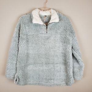 Gray Fuzzy Sherpa Pullover